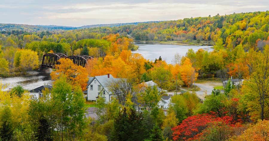 Fall on Miramichi River bridge, Doaktown, New Brunswick