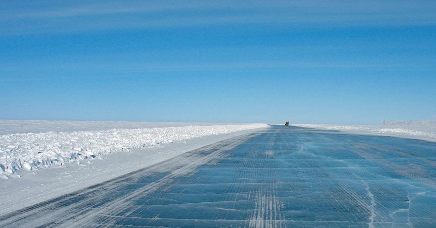 Ice road on Mackenzie River, Northwest Territory